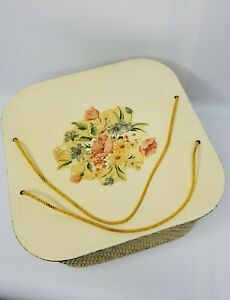 Vintage Harvey 1940#x27;s Wicker Sewing Basket Square Yellow $25.00