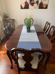 Formal Dining Room Set, Table with 2 Leaves, 6 Chairs, China Cabinet