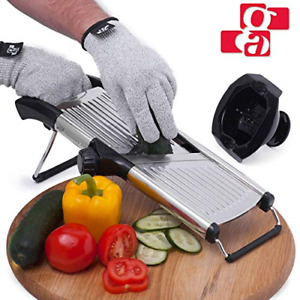 Slicer with Cut Resistant Gloves and Blade Adjustable Mandolin Vegetable Slicer