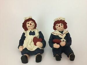 Vintage Raggedy Ann amp; Andy Hand Painted Sitting Figurines Dollhouse Heart 1991 $18.99