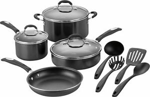 Cuisinart 11 Piece Cookware Set Black Silver FREE SHIPPING Brand New $69.99