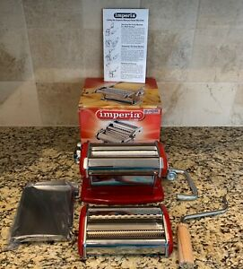 Imperia Pasta Maker Machine - Heavy Duty Steel Construction - Red Made In Italy