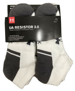 Under Armour UA Resistor 3.0 No Show Socks 6 Pairs Men's Size 13 16 XLG White $24.99