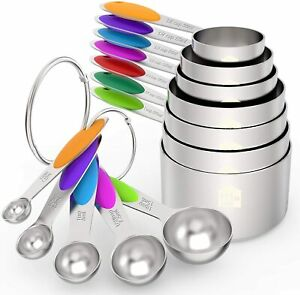 Measuring Cups and Spoons Set of 12, Premium Stainless Steel 7 Cups