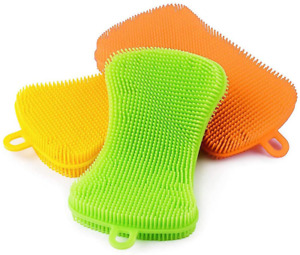 3pcs Double Sided Silicone Dish Sponges