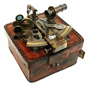 Brass Ship Nautical Marine Antique Working Sextant Astrolabe With Leather Case $36.66