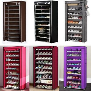 USA 10 Tier 30 Pairs Shoe Rack Tower Cabinet with Cover Organizer Storage Shelf