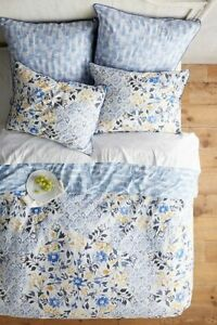 Anthropologie MADELINE Queen Duvet Cover NEW floral cotton percale actual pic 👀