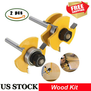 2pcs Tongue and Groove Router Bit 3 Teeth T Shape 1 4 Shank Wood Milling Cutter