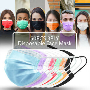 50PCS 3PLY Protective Face Mask Disposable Non Medical Surgical Dust Mouth Cover $7.99