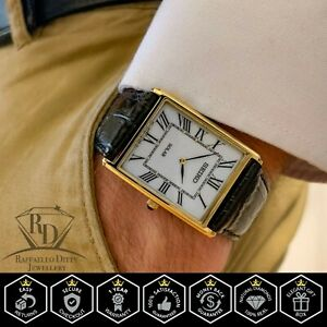 Seiko SUP880 Rectangle Mens Core Solar Powered Watch Gold Tone Black Leather $122.50