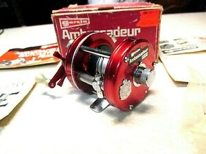 ABU GARCIA AMBASSADEUR FISHING REEL W BOX RED 5000 CLEAN amp; WORKS GREAT
