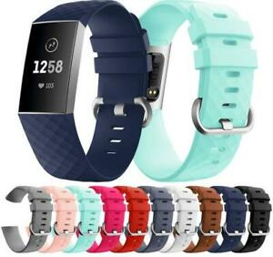 Soft Ruber Silicone For Fitbit Charge 3 4 Sport Bracelet Replacement Band Strap