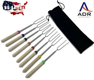 32quot; Telescoping roasting sticks. 8pc set with pouch. Stainless wood color coded. $13.99