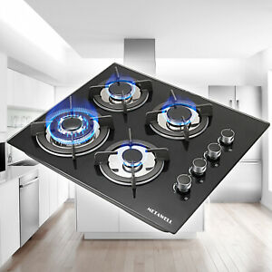 24quot; Tempered Glass Hob Built In 4 Burners Stove Tops LPG NG Gas Cooktop
