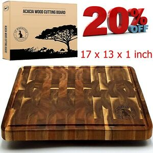 Acacia 17 x 13 x 1 inch Extra Large End Grain Wooden Cutting Board with Juice Gr