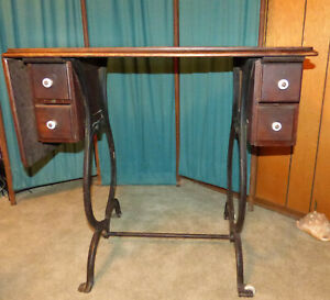 Treadle Sewing Machine Cabinet Antique Wooden Porcelain Wheels amp; Drawer Knobs $325.00