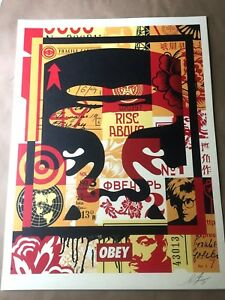 SIGNED Shepard Fairey OBEY FACE COLLAGE TOP Print Poster Giant 18X24 andy warhol $39.77