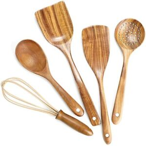 NEW Wooden Kitchen Utensils SetWooden Spoons for Cooking Nonstick Wood Utensil