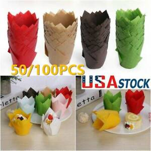 US 100 Baking Papers Cupcake Muffin Cup Wrapper Solid Tulip Case Cake Liners new