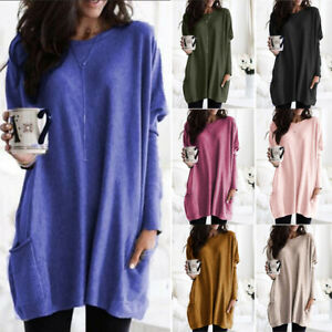 Women Long Sleeve Pullover Solid T shirt Loose Casual Pocket Tunic Top Plus Size