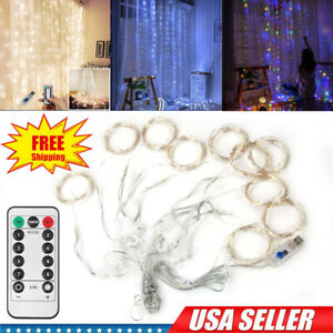 300LED 10ft Curtain Fairy Hanging String Lights Wedding Bedroom Home Decor USA $11.99