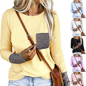 Women Casual Pocket Long Sleeve T Shirt Solid Loose Tunic Tops Crew Neck Blouse