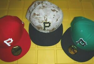 PITTSBURGH PIRATES CAMO GAME HAT ST PATS DAY HAT AND RED ALTERNATE HAT 3 HAT LOT