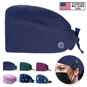 Unisex Scrub Cap Doctor Nurse Bouffant Hat Adjustable Head Cover with Buttons