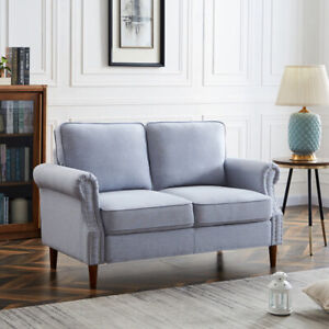 Modern Furniture Living Room Linen Fabric Sofa 2 Seater Couch Light Grey $331.80