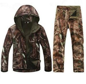 New Men Hunting Camouflage Clothing Waterproof Windproof Hooded Jacket amp; Pants D