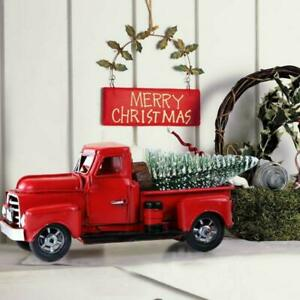 Vintage Metal Classic Rustic Pickup Truck w Christmas Tree Home Office Decor Red $16.98