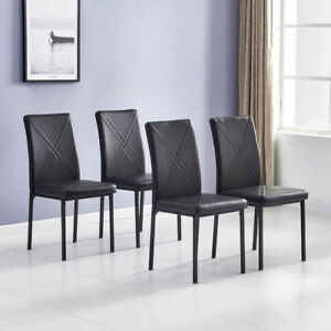 Set of 4 Leather Dining Chairs Kitchen Living Room High Back Chair Padded Seat