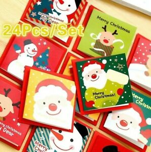Christmas Greeting Cards Blessing 24 PCs Mini Kids Card Paper Envelope Gifts $6.97