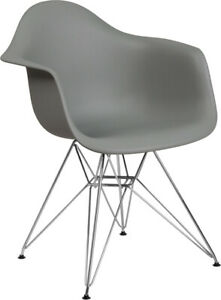 Flash Furniture Chrome Polypropylene Chair With Gray Finish FH 132 CPP1 GY GG