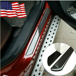4Pcs Car new Accessories 7D Carbon Fiber Door Sill Scuff Protector Stickers Trim
