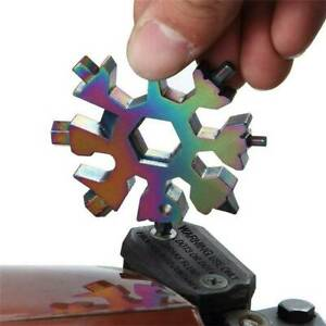 18 In 1 Stainless Tool MultiTool Portable Snowflake Shape Key Chain Screwdriver $3.86