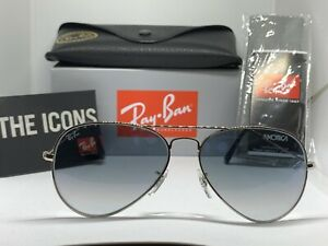 Ray Ban Aviator Large Metal RB 3025 003 3F 58mm Silver Frame Light Blue Gradient $79.95