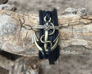 Black Leather Anchor Bracelet One Size Fits All Adjustable Unisex Stylish.