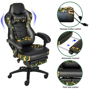Massage Gaming Chair Office Computer Swivel Chair with Footrest Lumber Support $135.84