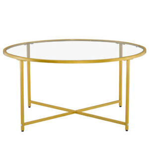 Round Modern End SideTable Metal Coffee Table Home Furniture Round Edge Gold US