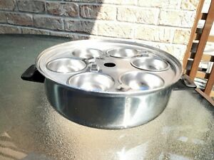"""Vintage Lifetime 10"""" Egg Poacher Pan Dome Lid Cookware T304 Stainless Steel USA"""