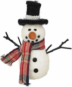 Snowman With Black Top Hat Felt Figurine 5 Inch from Primitives by Kathy