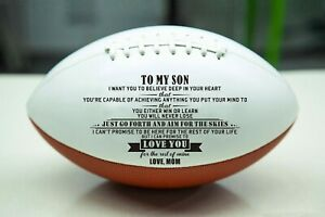 To My Son Love Mom Engraved American Football Anniversary Birthday Xmas Gift $19.99