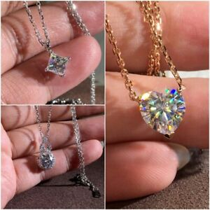 Gorgeous 925 Silver Necklace Pendants White Sapphire Women Wedding Jewelry