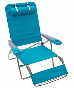 Rio Brands Beach 5 Position Lay Flat Extra Wide Foldable Beach Lounger Light ...