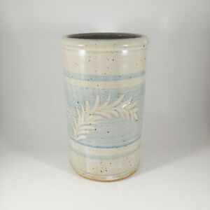 HANDMADE Signed Pottery 7quot; Tall Blue amp; Gray Striped Floral Stoneware Utensil Jar
