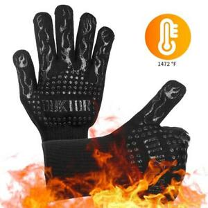 Heat Resistant BBQ Gloves Cooking Baking Barbecue Oven Gloves Thick Silicone