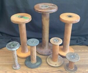 Lot of 7 Vintage Wooden Thread Spools Industrial Sewing Spools $88.00