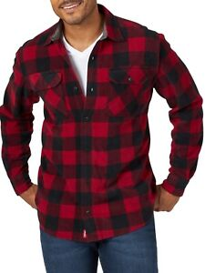 Wrangler Flannel Breathe Dri Shirt Relaxed Fit Shirt w Side Pockets Red $21.99